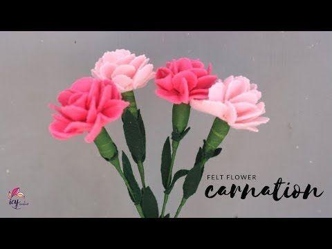 How To Make Felt Flower Carnation Tutorial Cara Membuat Bunga Anyelir Dari Kain Flanel In 2020 Felt Flowers Diy Felt Flowers Felt Flower Template