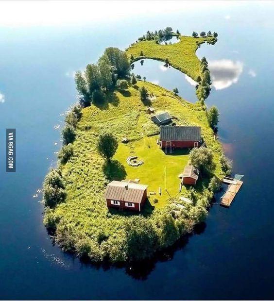 A small island in Rovaniemi, Finland.
