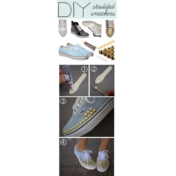 DIY: Studded Sneakers, created by polyvore-editorial on Polyvore