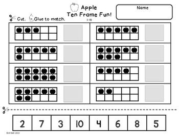 Printables Ten Frame Worksheets ten frames apples set of back to and school this is a 6 frame worksheets students will practice identifying showing
