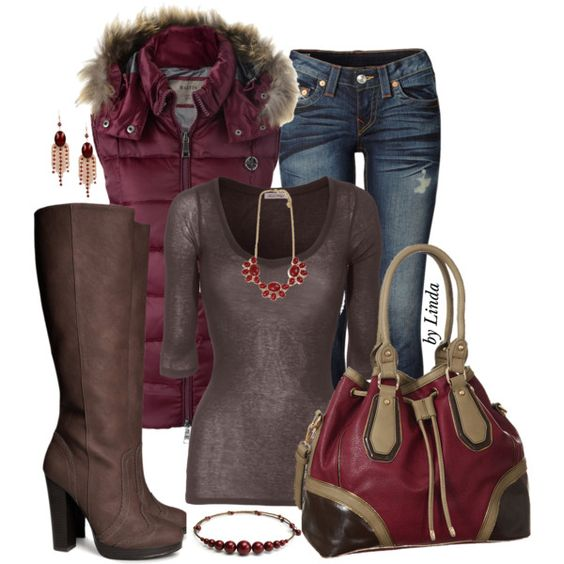 Burgundy & Brown Fall Outfit, created by lindakol on Polyvore