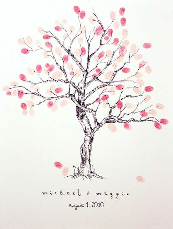 guest book - have guests press fingerprints to make foliage for tree #wedding #guestbook: