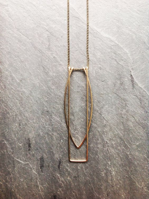 Gold geometric necklace architectural jewelry 14k for Minimal art jewelry
