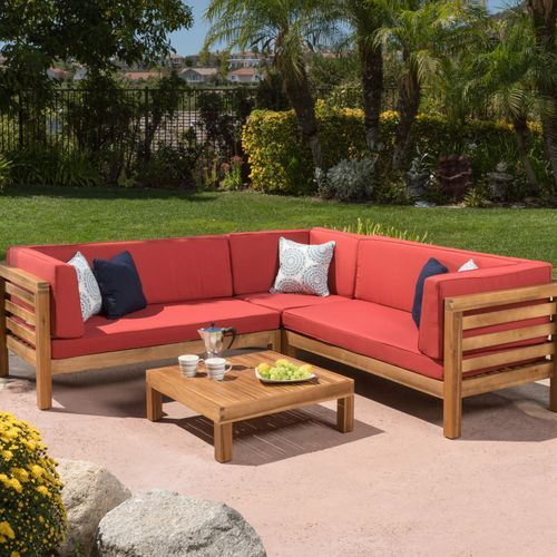 Collins 4 Piece Outdoor Sectional Set With Red Cushions Wooden Pallet Furniture Pallet Furniture Pallet Furniture Outdoor