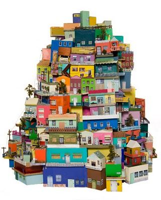 Shoebox village. i love this idea. not sure i'd be able to make it so big!! each box could be its own little work of art.  @Alyssa Barclay  see, this is why I can't throw away shoe boxes!