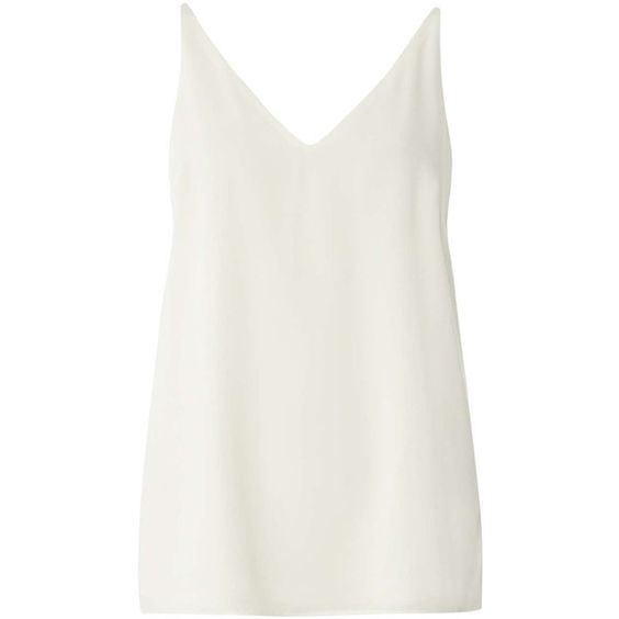 Dorothy Perkins **Tall Ivory Deep v Neck Cami Top (£12) ❤ liked on Polyvore featuring tops, white, cami tank tops, white cami top, camisole tops, ivory camisole and white tank