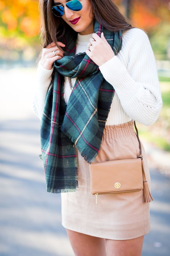 camel skirt, fall fashion and style, plaid scarf, blanket scarf, chunky knit sweater, gray booties, fall leaves, preppy fall outfit, sole society scarf // grace wainwright from a southern drawl