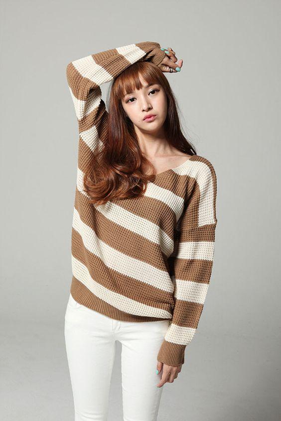 V-Neck Stripe Knit Top