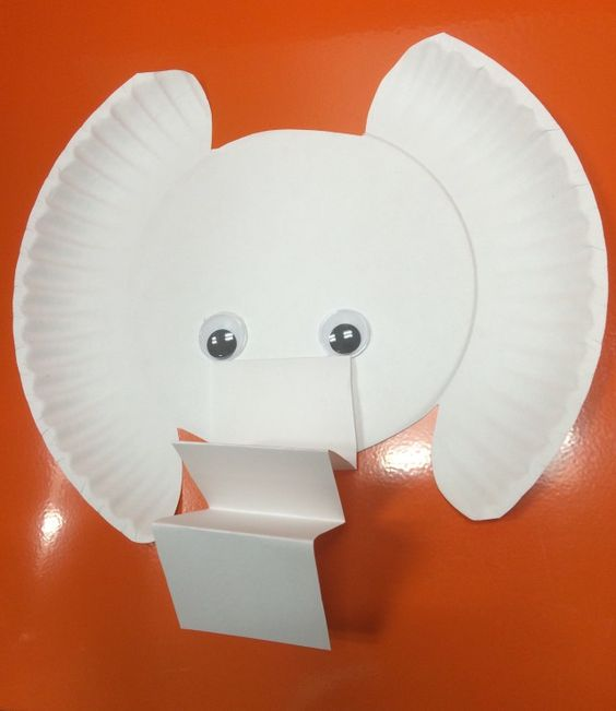 Craft Ideas for Children's Librarians - paper plate elephant with accordion paper trunk and googly eyes - with Little Elliot Big City by Curato or Mo Willems' Elephant and Piggie books: