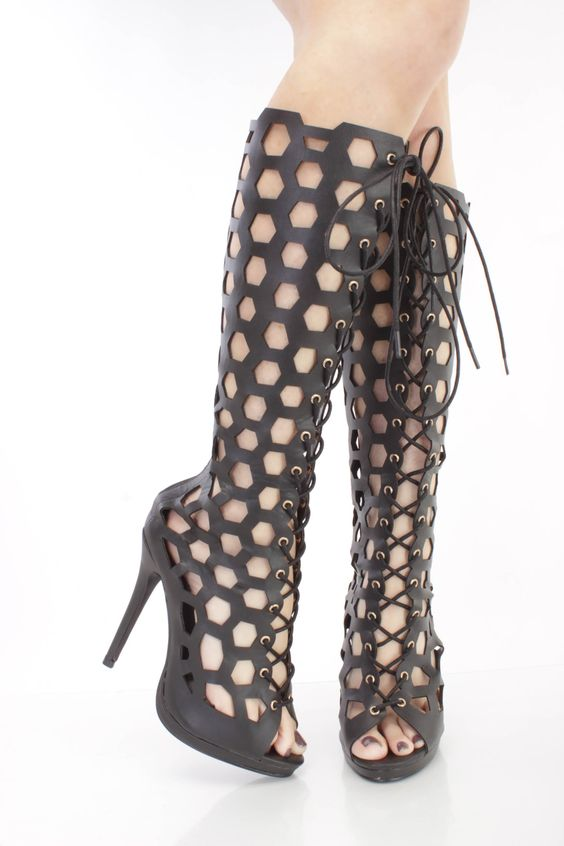 Black Honeycomb Cut Out Gladiator Heels Faux Leather   Pinterest