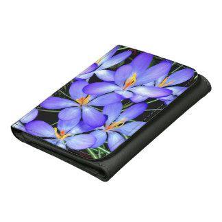Hellblau Blumen-schwarze dreifachgefaltete Nylongeldbörse