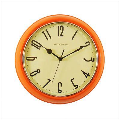 Ashton Sutton Retro Wall Clock in Bright Orange...