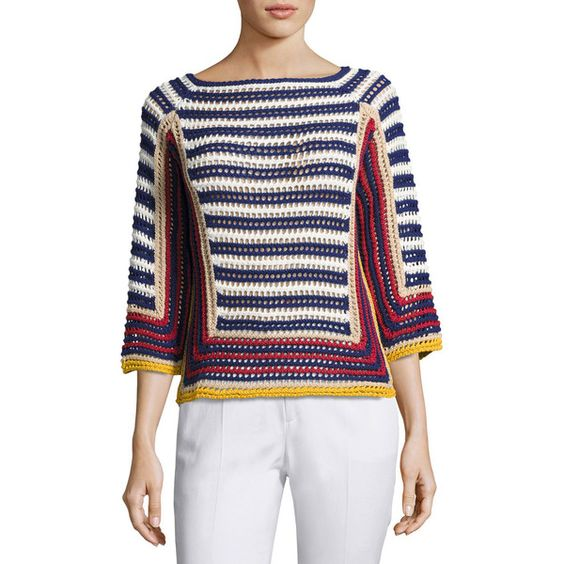 Red Valentino 3/4-Sleeve Striped Crocheted Cotton Sweater ($595) ❤ liked on Polyvore featuring tops, sweaters, multi pattern, women's apparel sweaters, boat neck striped top, patterned sweater, cotton sweaters, boat neck sweater and boat neck tops