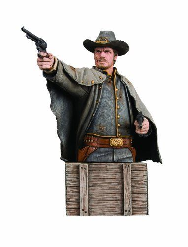 """DC Direct Jonah Hex (Movie): Jonah Hex Bust by Diamond Comics Distributors. $26.98. Stands approximately 6.25"""" H x 3.25"""" W x 6.5"""" D. Sculpted by Jean St. Jean. Taken from the live-action film based on the classic DC Comics stories. 4-color box. Hand-painted, cold-cast porcelain. From the Manufacturer                Sculpted by Jean St. Jean. Jonah Hex (Josh Brolin) is a scarred drifter and bounty hunter of last resort, a tough and stoic gunslinger who can track ..."""