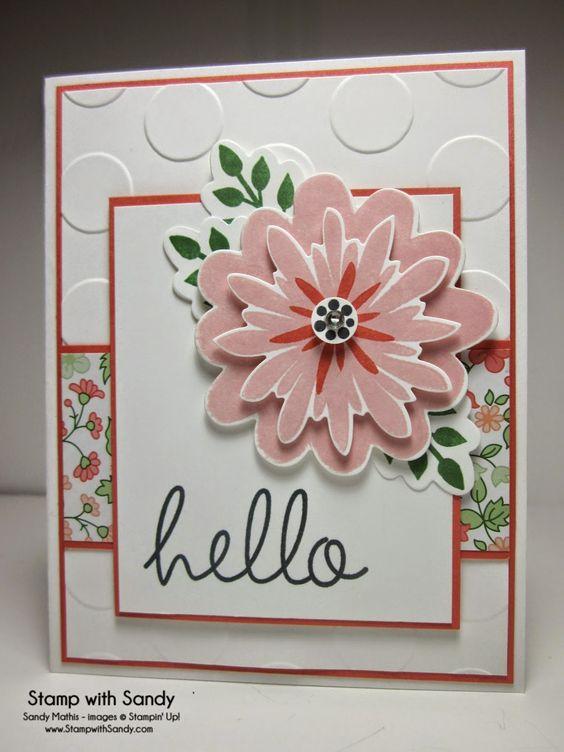 Card Stock: Whisper White, Calypso Coral Designer Series Paper: Gold Soiree Ink Pads: Memento Tuxedo Black, Crisp Cantaloupe, Calypso Coral, Garden Green