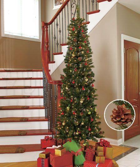 7' Slim Prelit Christmas Tree - White or Colored Lights