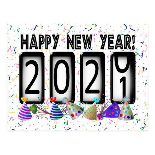 Rainbow Letters 2021 Happy New Year Postcard Zazzle Com New Years Party New Year Postcard New Year Card Design