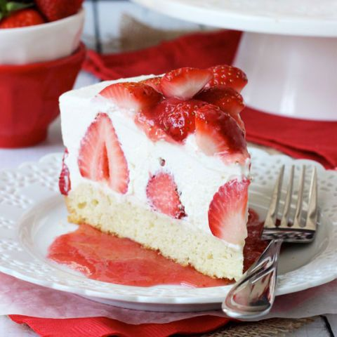 Instead of your typical crust, this strawberry studded cheesecake features a shortcake base. Get the recipe from Courtesy of Life, Love & Sugar.