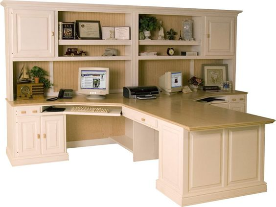 The Peninsula Desk Makes A Wonderful Common Workspace For Two People Home Office Layouts Home Office Furniture Home Office Design