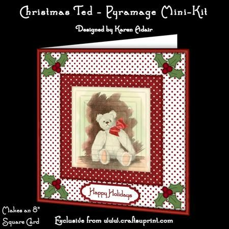 """This two sheet mini-kit will make a pretty 8"""" square Christmas card, with 6 layers of pyramage. Six sentiment tags included, one left blank for you to personalise if you wish."""