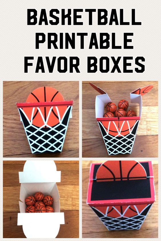 Basketball favor boxes are perfect for basketball themed parties or as a gift box for your favorite basketball fan. They are simple and easy to make. Just purchase and download the PDF file. Next print out the PDF file, cut one continuous piece, fold, glue one tab, and you have a charming basketball favor box.