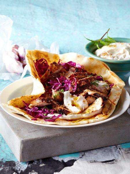 Selbst gemacht viel besser als vom Imbiss: Arabisches Shawarma mit Tahin und Rotkohlsalat