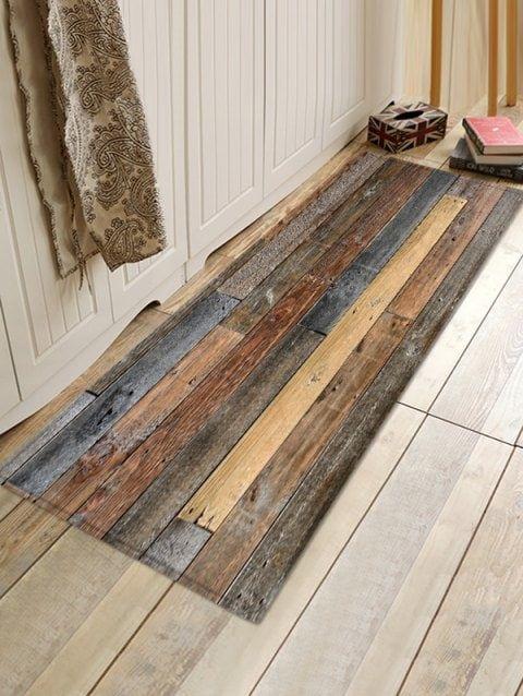 Wood Board Print Water Resistant Floor Mat Rugs On Carpet Floor Rugs Flooring