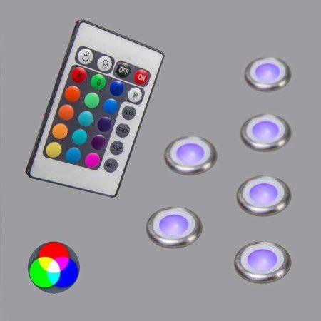 6er Einbauset Pro IP67 RGB: Schönes Set bestehend aud sechs soliden LED Einbauleuchten aus Edelstahl! #einbaustrahler #innenbeleuchtung #Außenbeleuchtung
