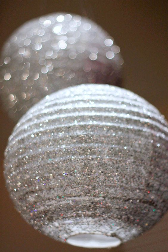 How to make fabulous DIY glitter lanterns, coordinate your wedding colors, use in the air, on the tables, as centerpieces...use your imagination! New Wedding Trends: http://www.destinationweddings.travel/default.asp?sid=23734&pid=67397 #allweddingsallowed #alltravelersallowed: