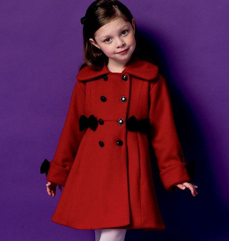 GIRLS COAT PATTERN / Make Pretty Winter Coats / Sizes 2 - 5 Or 6
