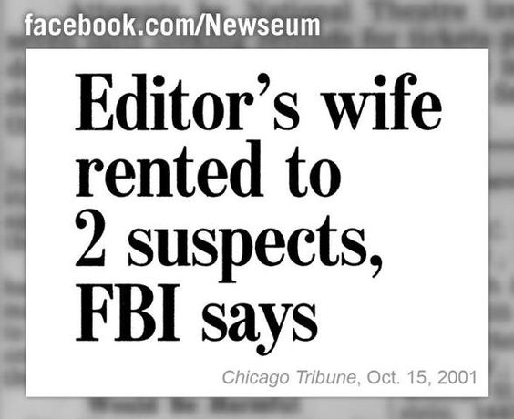 "Oops: This is one of several headlines featured in the public restrooms at the Newseum and in the book ""Correct Me if I'm Wrong,"" sold on newseum.org and in the Newseum Store."