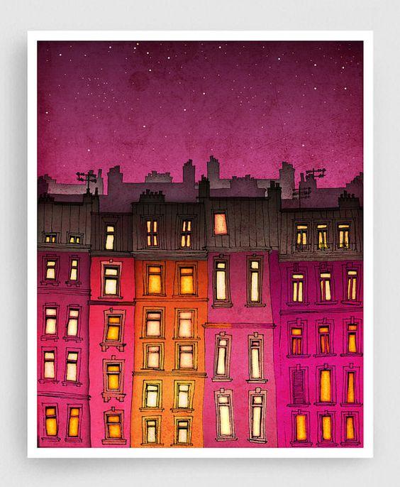 Paris, die rote Fassade - Paris Abbildung Abbildung Art Mischtechnik Abbildung Art Drucke Poster Paris Dekor Architektur Stadtlandschaft