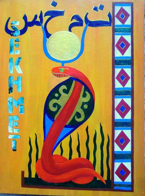"Series ""Ancient Egyptian Gods"":  ""SEKHMET"" -  Acyrilic on canvas-covered Cardboard, 30x40 cm - For Sale!"