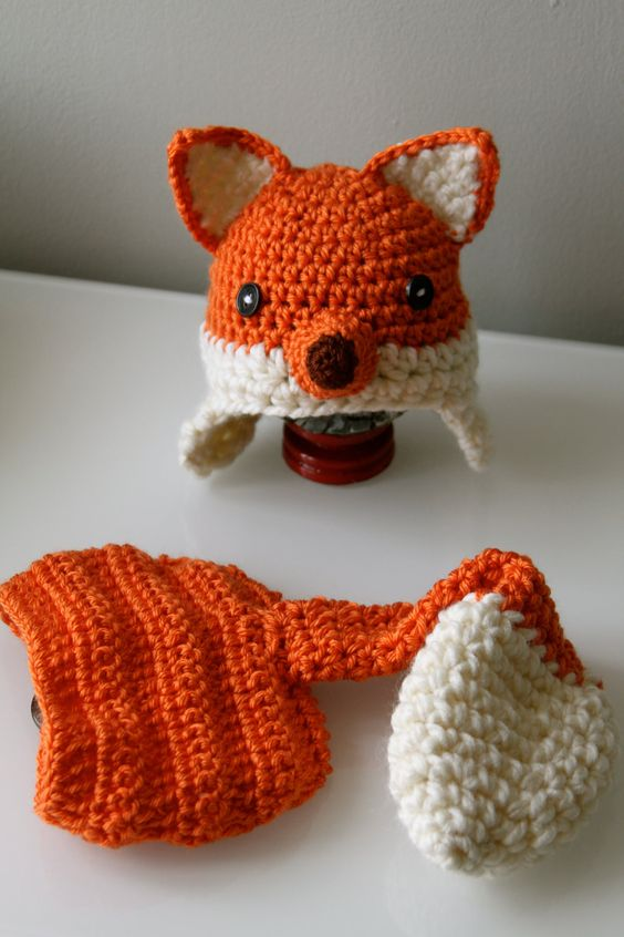 Crochet Patterns For Baby Hats And Diaper Covers : Crochet Baby Fox Hat with earflaps and Diaper by ...