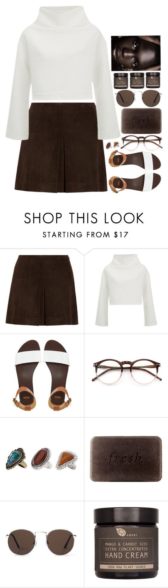 """""""3911"""" by tiffanyelinor ❤ liked on Polyvore featuring Miu Miu, The Fifth Label, ASOS, Wildfox, Topshop, Fresh, MANGO and AMBRE"""
