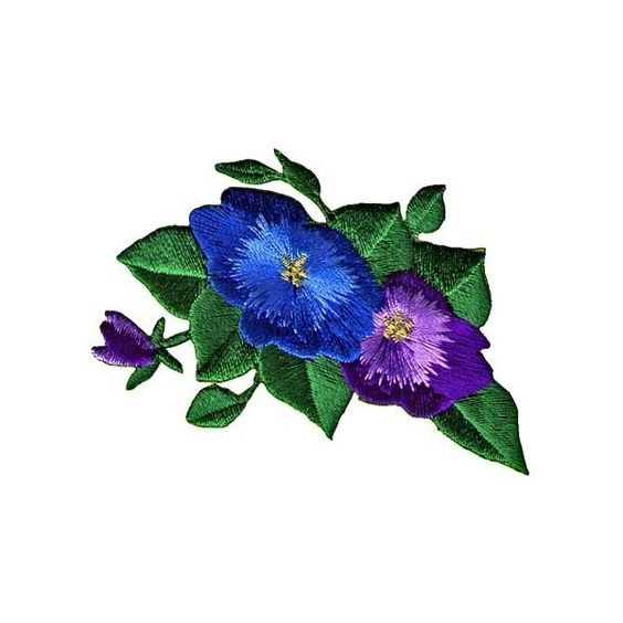Blue Purple Pansies Iron On Floral Patch Applique (5.305 COP) ❤ liked on Polyvore featuring accessories and flowers