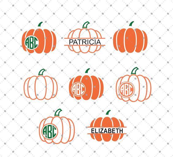 Pumpkin Monogram Frames SVG Cut Files for Cricut and Silhouette