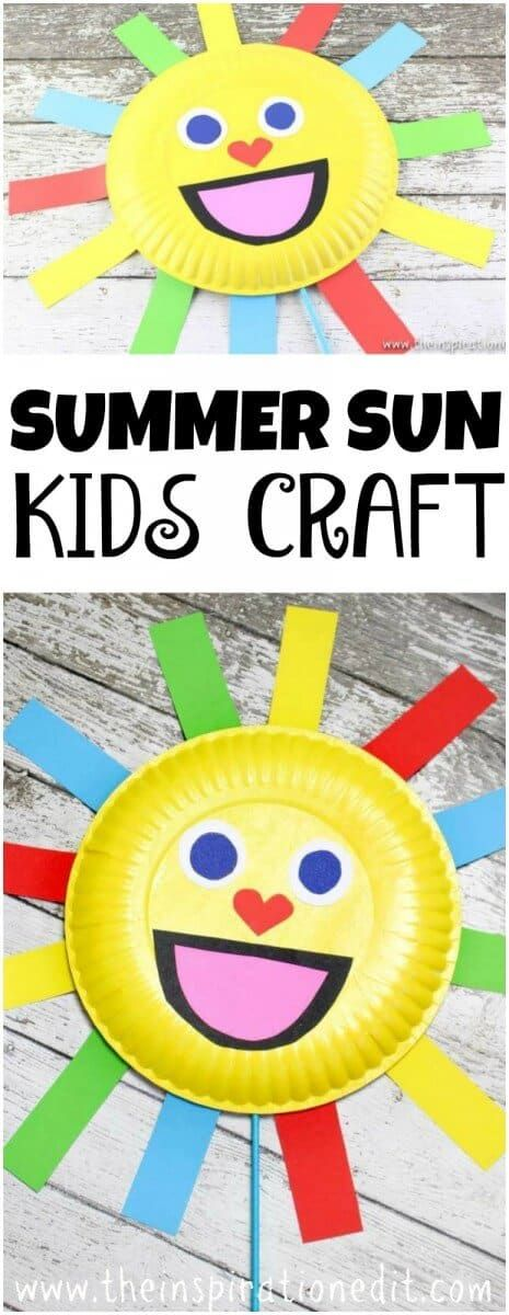 Today we have a fantastic and fun Summer Sun Paper plate craft which I'm sure the kids will love to make at home or in the classroom setting. This is a simple and easy task and encourages fine motor skills, promotes colour recognition and the craft can be used as a puppet.  It is a great preschool resource and could be used while singing a song about the sun or colours. There are lots of fun ways this can be used. #crafts #craftsforkids #summer