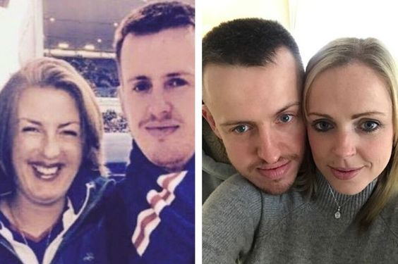 Jill Sharp photoshopped a picture with Graham McQuet, pictured right with his real fiancee Marianne: