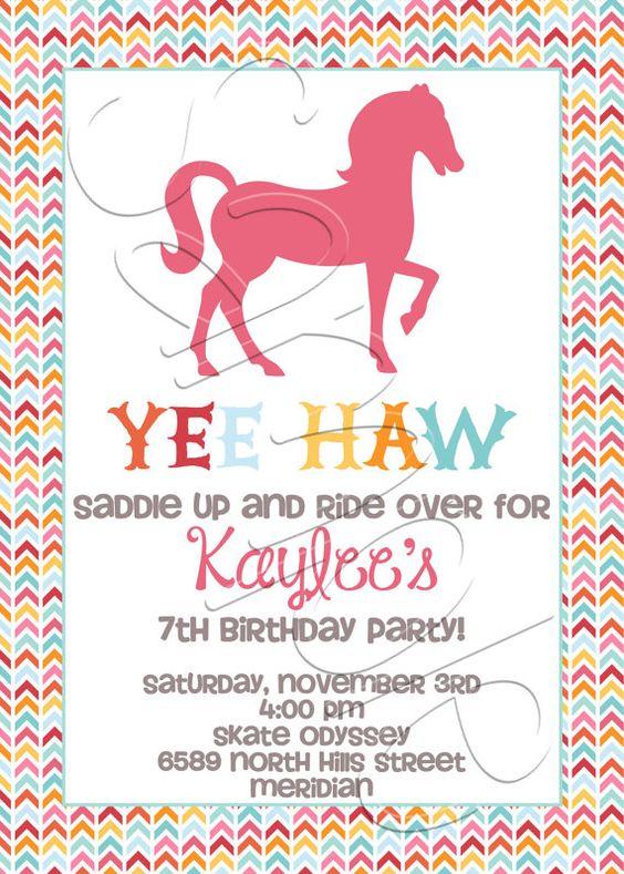 Printable Horse Birthday Party Invitation by SpencerReedDesigns, $15.00