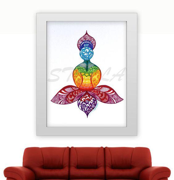 Yoga Zentangle LOTUS - 11 x 14 Druck vom ursprünglichen Entwurf ...