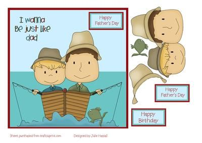 """Father and son in fishing boat Father s Day card on Craftsuprint designed by Julie Hassall - A lovely card for a little boy to send to his Dad. It has decoupage and a choice of Father's Day or birthday sentiments. It fits a 7 x 7"""" card or can be resized . Please click on my name to view more of my designs. Thanks for looking! - Now available for download!"""