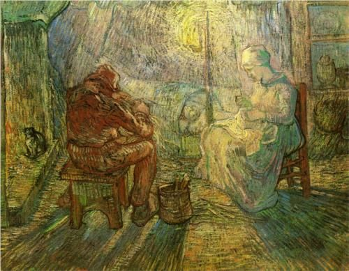 Evening - The Watch (after Millet)  1889. Vincent van Gogh