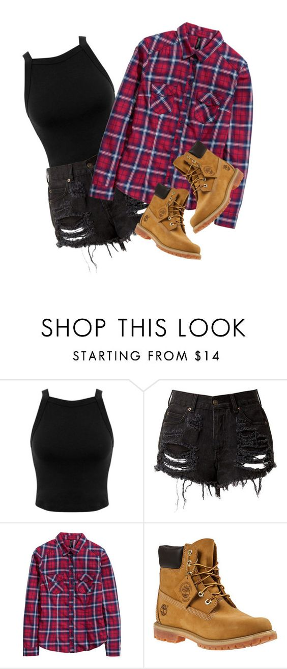 """Heyy thereee"" by melisa2310 ❤ liked on Polyvore featuring Miss Selfridge, H&M and Timberland"