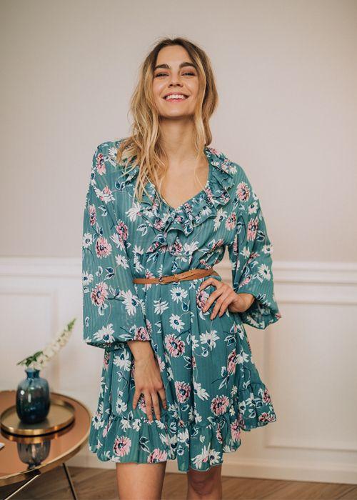Sukienka Florinda Zielona W Kwiaty Fashion Casual Dress Dresses