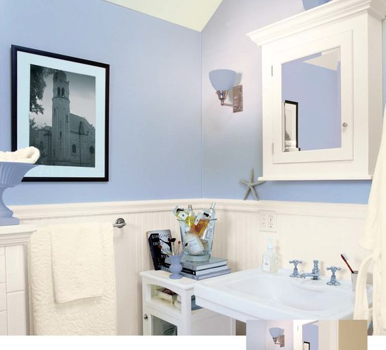 bathroom: bright and beautiful blue wall bathroom painted with