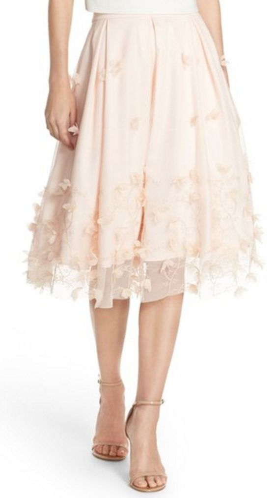 Pale Pink Applique Short Ball Gown Skirt