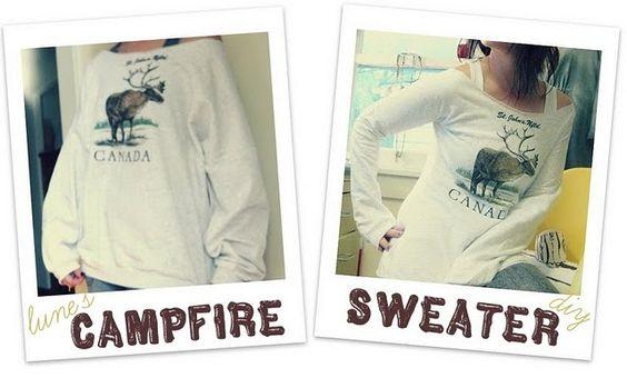 Campfire Sweater DIY -: Smaller Sweatshirts, Diy Crafts, Sweatshirt Refashion, Diy Projects Crafts, Sewing Machine, Craft Ideas, Cute Sweatshirts