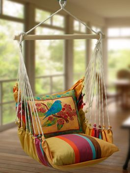 Swing Chair......  hang from rafters... sew pillows from old dresses.