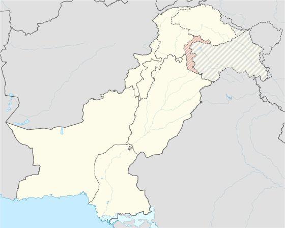 Localisation de l'Azad Cachemire (en rouge) à l'intérieur du Pakistan
